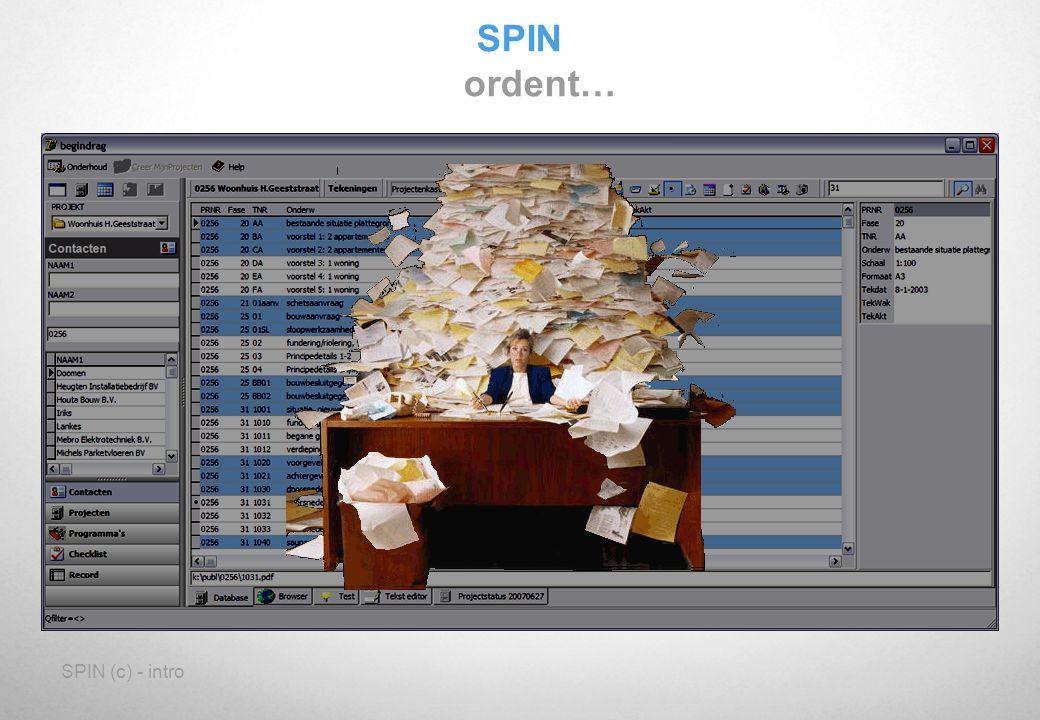 SPIN (c) - intro SPIN Analogie Wat is SPIN ?: Een verbindingsapparaat voor documenten