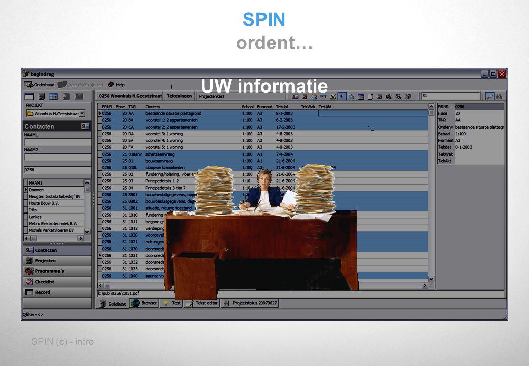 SPIN (c) - intro Zodat we allemaal weten wat de doelstelling is Documenten die we delen SPIN Synergetisch Project Informatie Netwerk