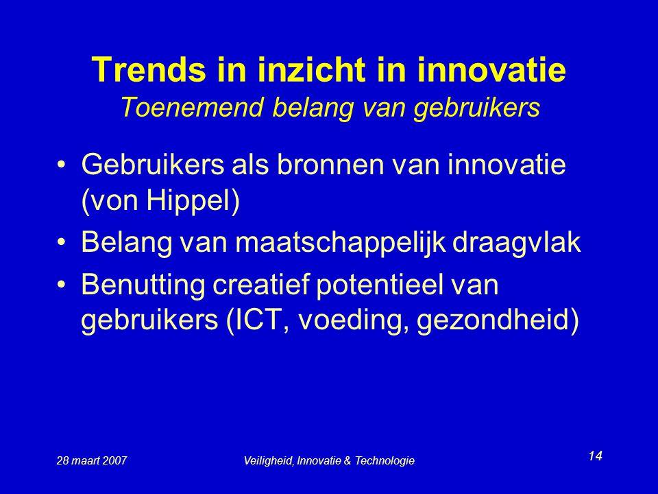 28 maart 2007Veiligheid, Innovatie & Technologie 14 Trends in inzicht in innovatie Toenemend belang van gebruikers Gebruikers als bronnen van innovatie (von Hippel) Belang van maatschappelijk draagvlak Benutting creatief potentieel van gebruikers (ICT, voeding, gezondheid)