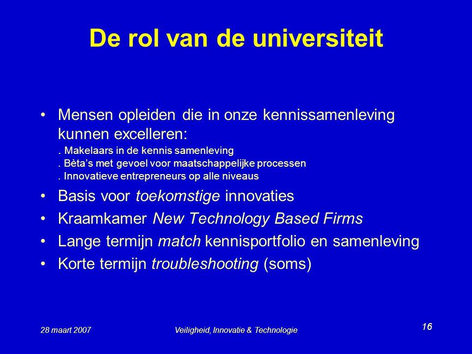 28 maart 2007Veiligheid, Innovatie & Technologie 16 De rol van de universiteit Mensen opleiden die in onze kennissamenleving kunnen excelleren:.