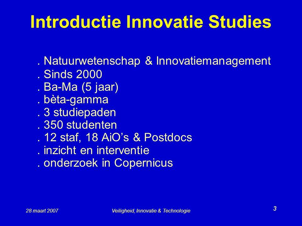 28 maart 2007Veiligheid, Innovatie & Technologie 3 Introductie Innovatie Studies.