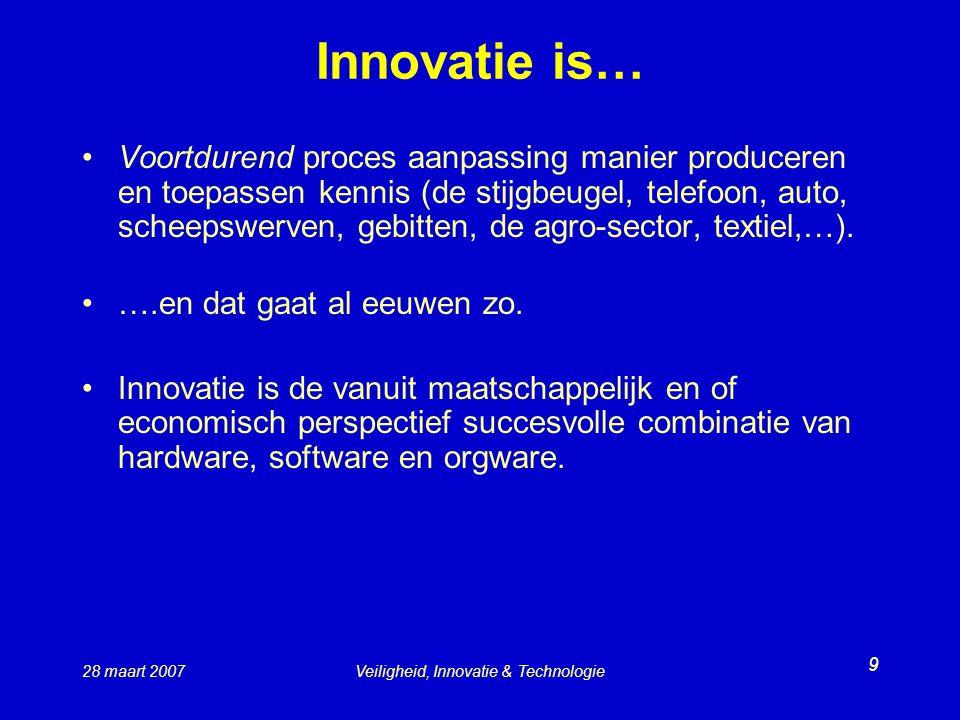 28 maart 2007Veiligheid, Innovatie & Technologie 9 Innovatie is… Voortdurend proces aanpassing manier produceren en toepassen kennis (de stijgbeugel, telefoon, auto, scheepswerven, gebitten, de agro-sector, textiel,…).