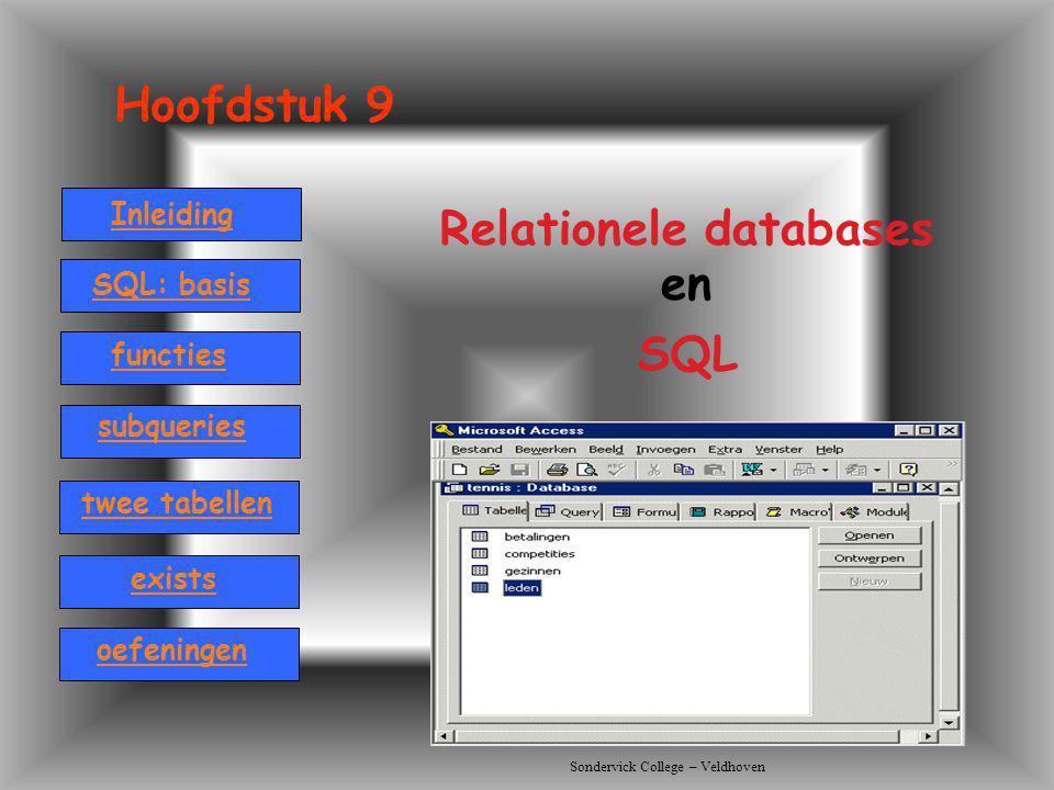 Sondervick College – Veldhoven Hoofdstuk 9 Relationele databases en SQL Inleiding SQL: basis twee tabellen functies oefeningen subqueries exists