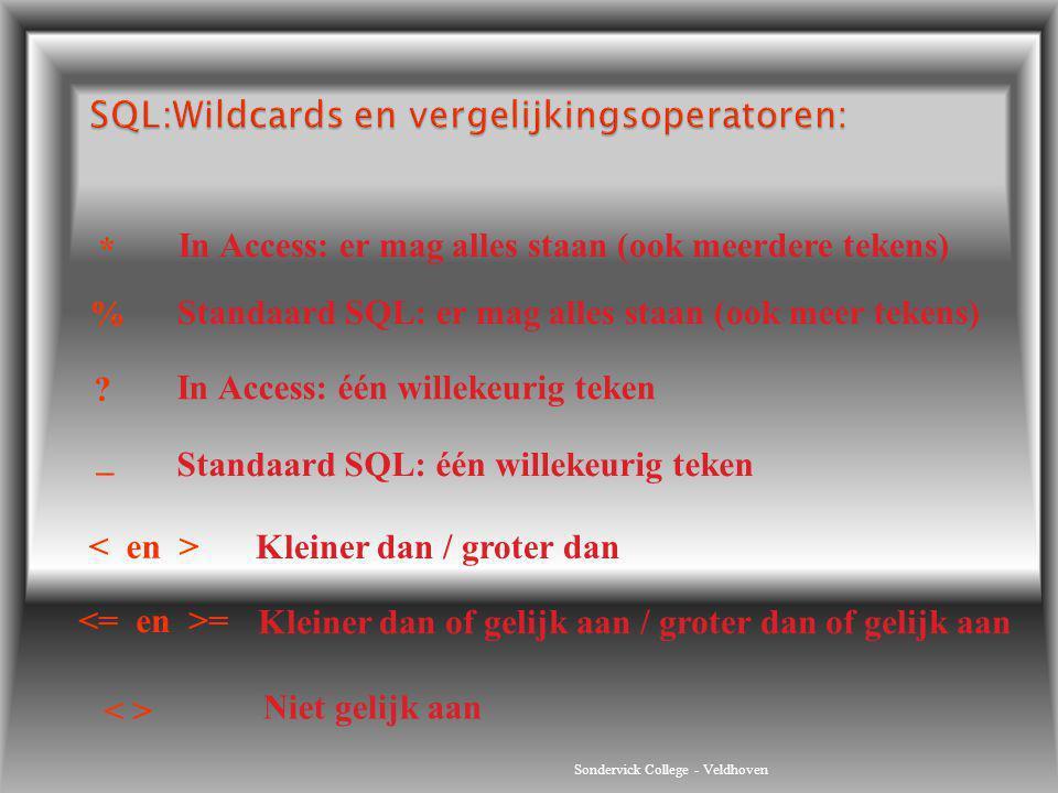 Sondervick College - Veldhoven % _ = Standaard SQL: er mag alles staan (ook meer tekens) Standaard SQL: één willekeurig teken Kleiner dan / groter dan