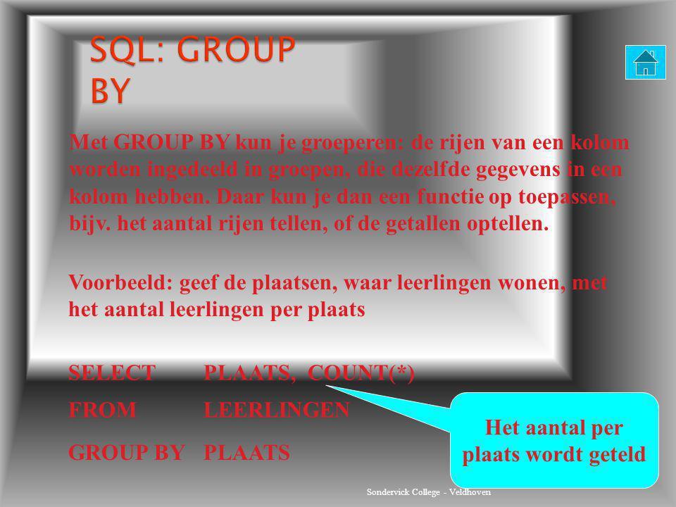 Sondervick College - Veldhoven Met GROUP BY kun je groeperen: de rijen van een kolom worden ingedeeld in groepen, die dezelfde gegevens in een kolom h