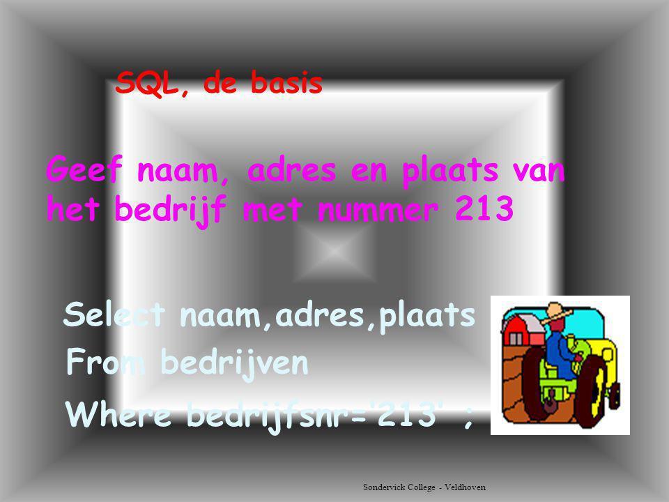 Sondervick College - Veldhoven Geef naam, adres en plaats van het bedrijf met nummer 213 Select naam,adres,plaats SQL, de basis From bedrijven Where b