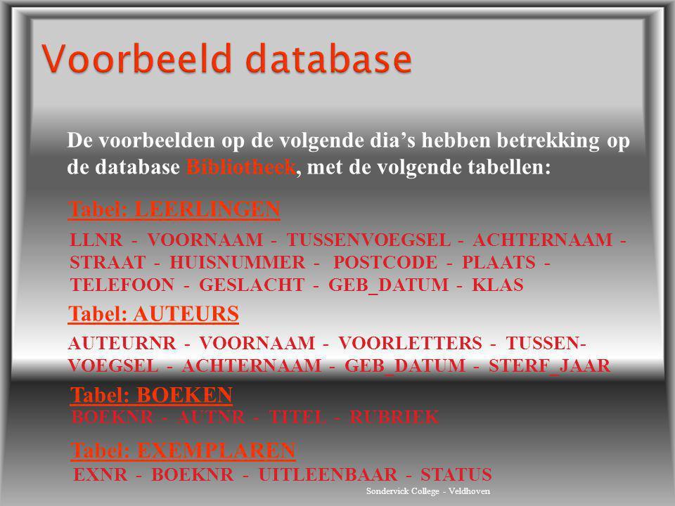 Sondervick College - Veldhoven Tabel: LEERLINGEN LLNR - VOORNAAM - TUSSENVOEGSEL - ACHTERNAAM - STRAAT - HUISNUMMER - POSTCODE - PLAATS - TELEFOON - G