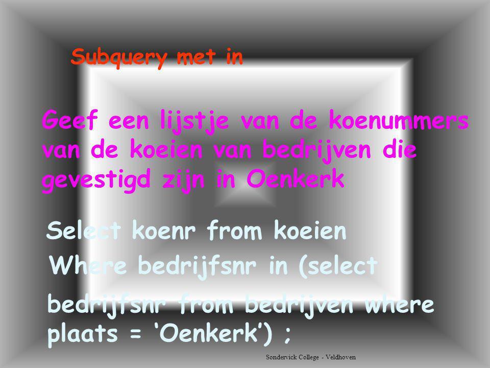 Sondervick College - Veldhoven Geef een lijstje van de koenummers van de koeien van bedrijven die gevestigd zijn in Oenkerk Select koenr from koeien S
