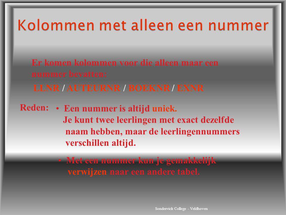 Sondervick College - Veldhoven Er komen kolommen voor die alleen maar een nummer bevatten: LLNR / AUTEURNR / BOEKNR / EXNR Reden: Een nummer is altijd