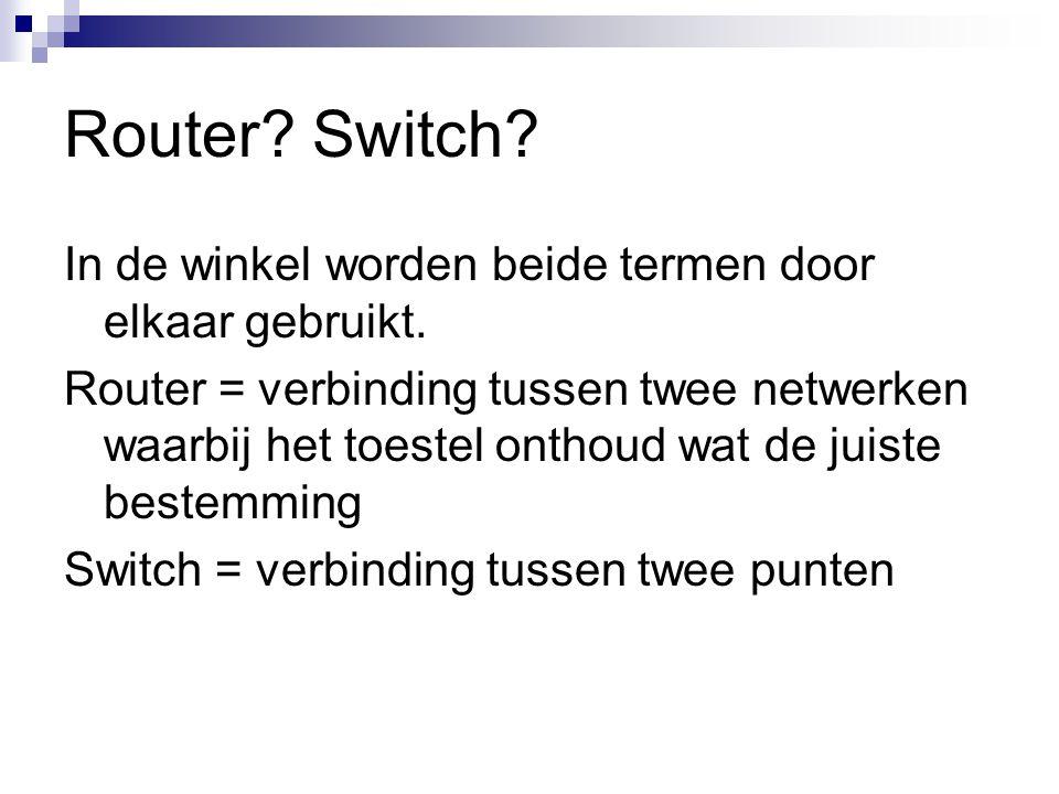 Router.Switch. In de winkel worden beide termen door elkaar gebruikt.