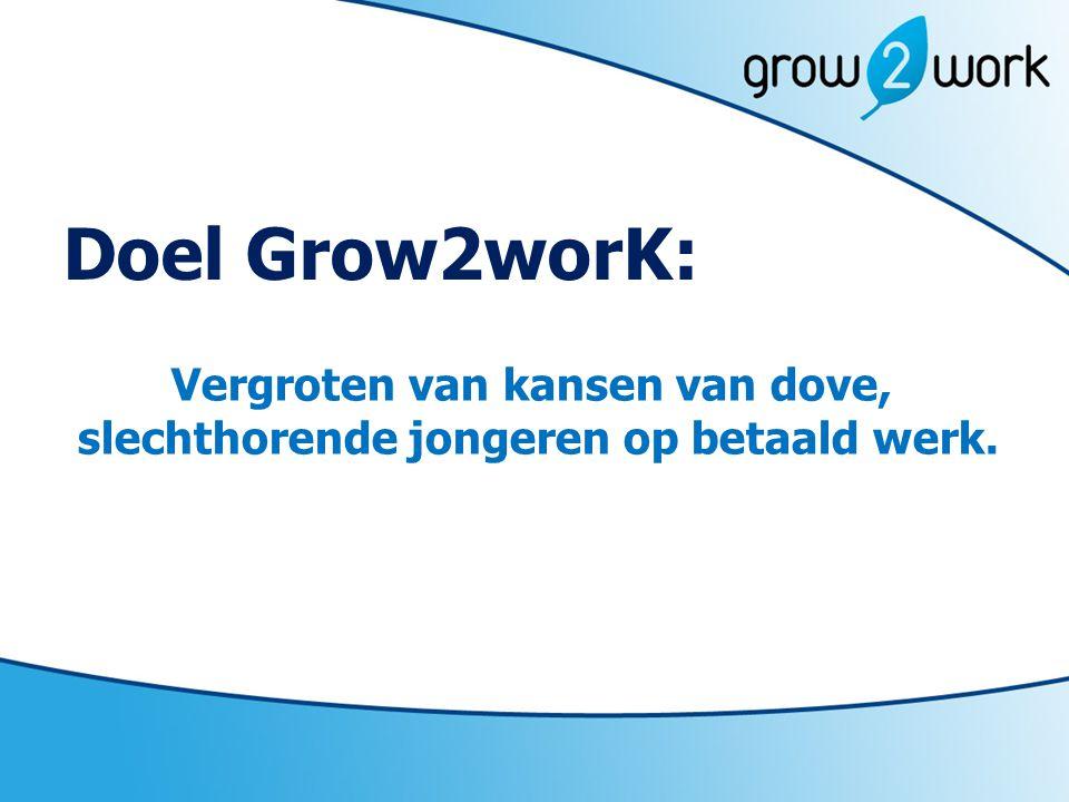 Doel Grow2worK: Vergroten van kansen van dove, slechthorende jongeren op betaald werk.