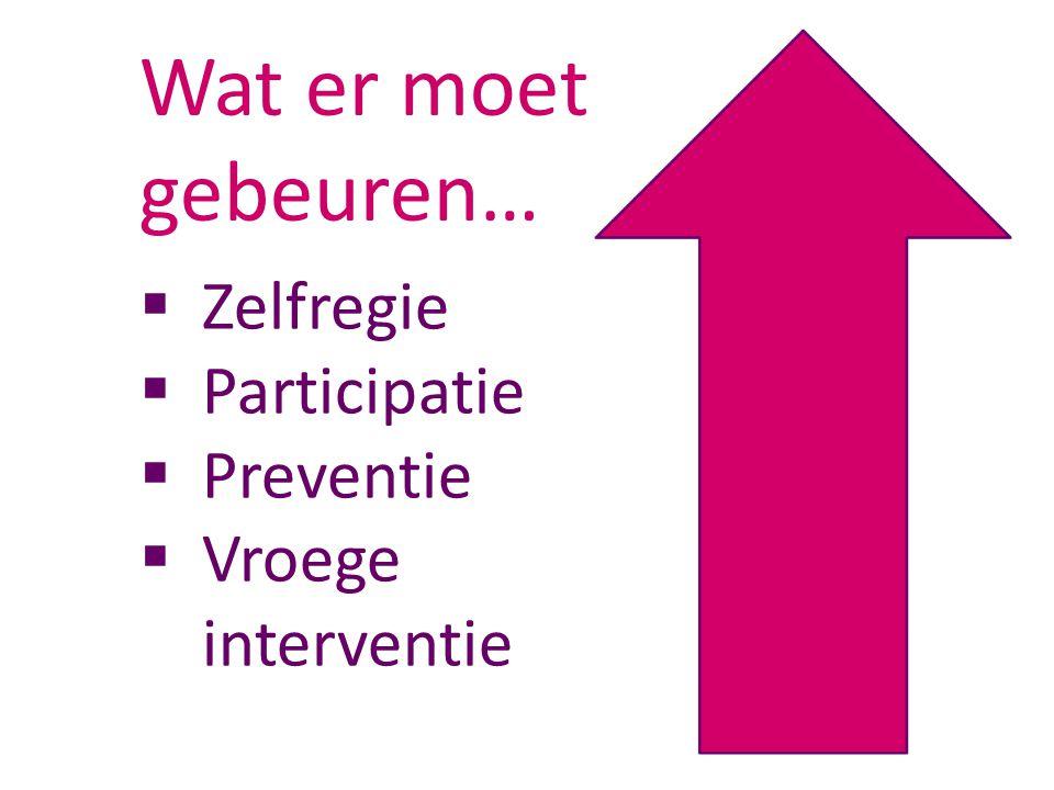  Zelfregie  Participatie  Preventie  Vroege interventie Wat er moet gebeuren…