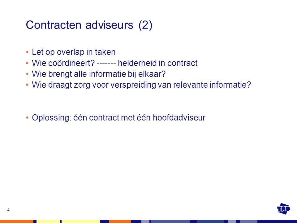 5 Contracten met aannemers Contracteren in nevenschikking: opdrachtgever verantwoordelijk voor voortgang vertraging komt voor rekening van opdrachtgever Oplossing: één contract met één hoofdaannemer