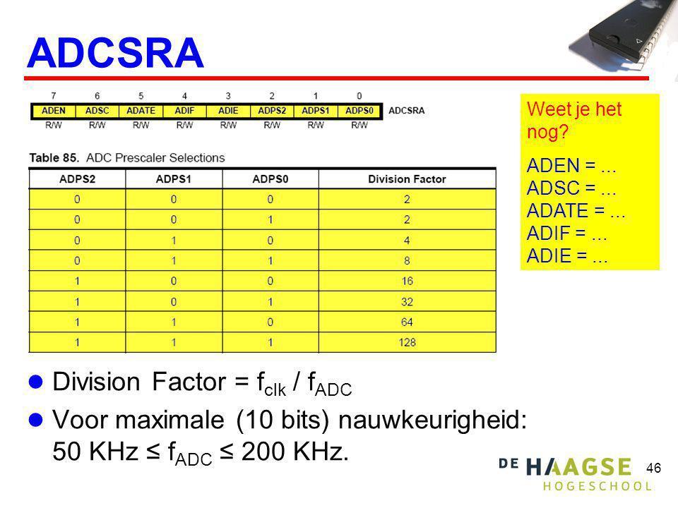 46 ADCSRA Division Factor = f clk / f ADC Voor maximale (10 bits) nauwkeurigheid: 50 KHz ≤ f ADC ≤ 200 KHz. Weet je het nog? ADEN =... ADSC =... ADATE