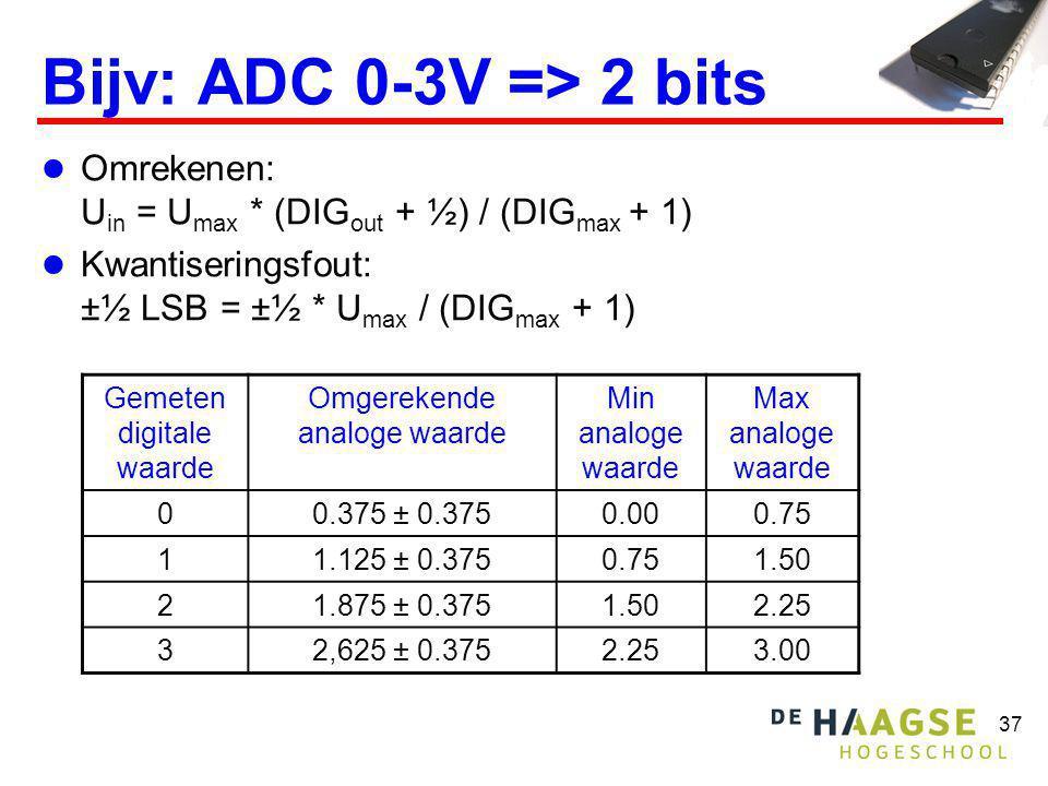 37 Bijv: ADC 0-3V => 2 bits Omrekenen: U in = U max * (DIG out + ½) / (DIG max + 1) Kwantiseringsfout: ±½ LSB = ±½ * U max / (DIG max + 1) Gemeten dig