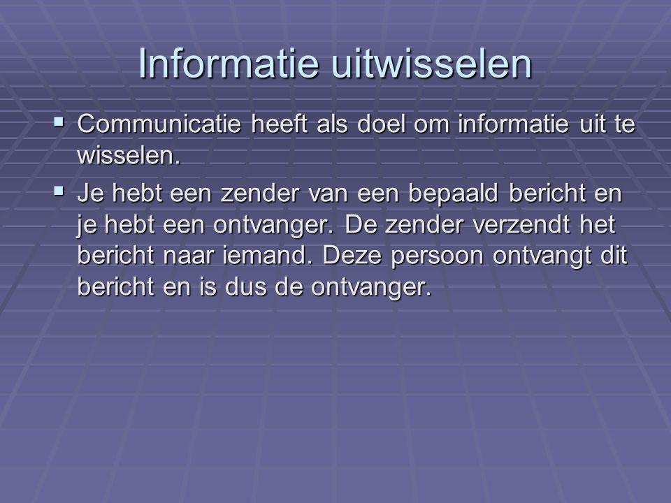 Informatie uitwisselen CCCCommunicatie heeft als doel om informatie uit te wisselen.