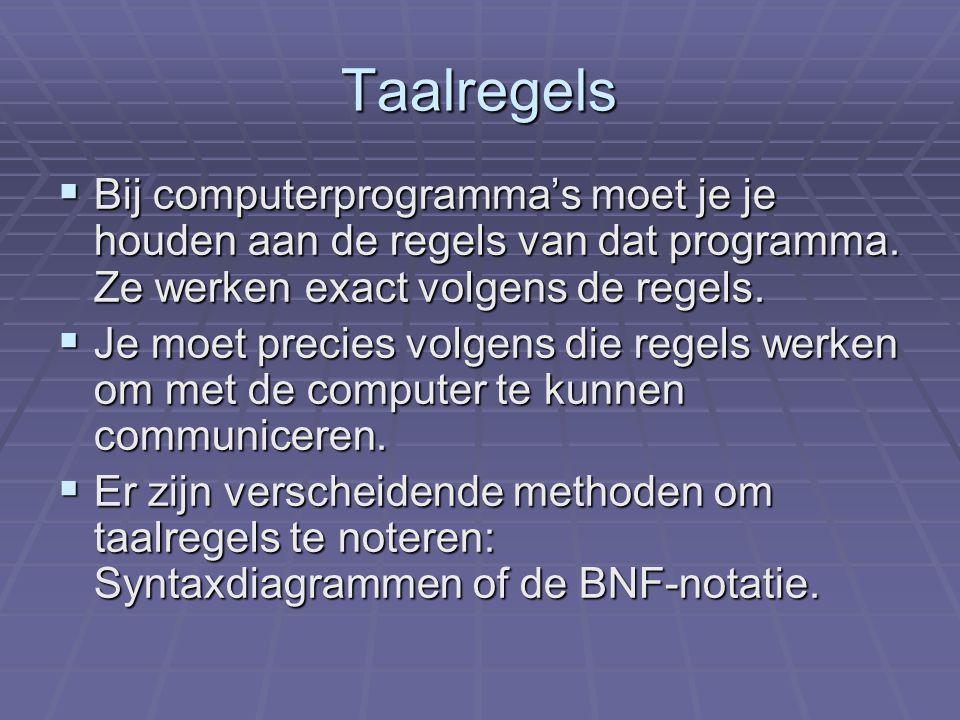 Taalregels BBBBij computerprogramma's moet je je houden aan de regels van dat programma.