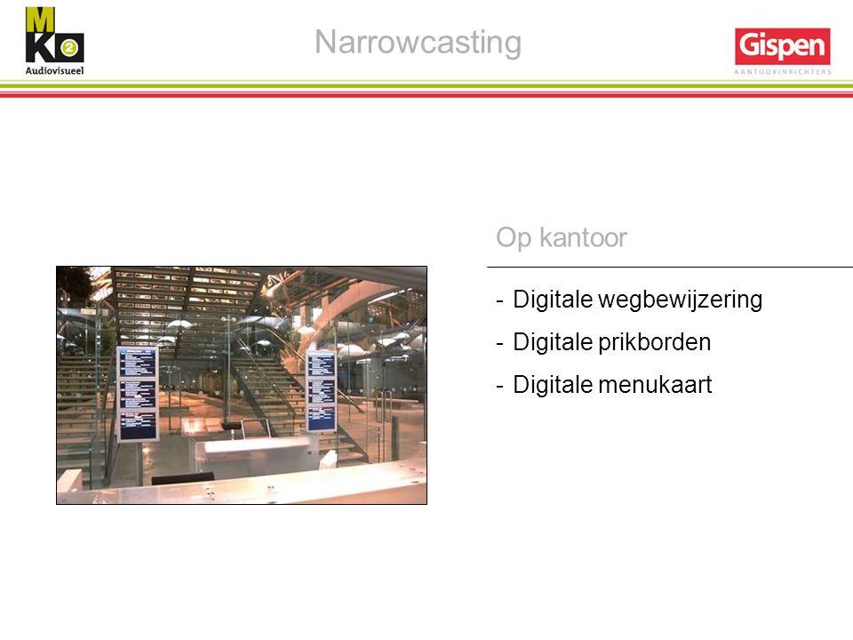 Op kantoor -Digitale wegbewijzering -Digitale prikborden -Digitale menukaart Narrowcasting