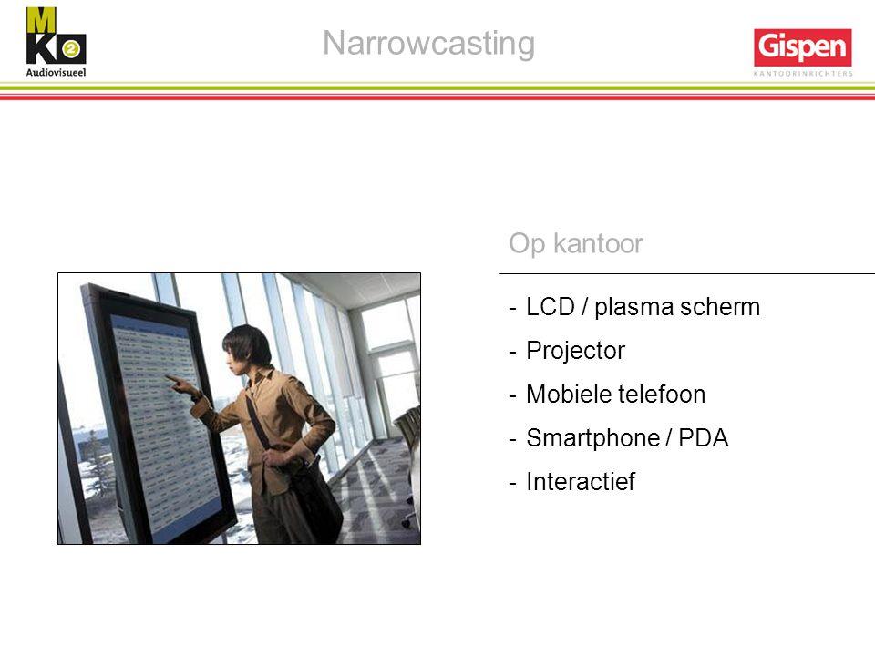 -LCD / plasma scherm -Projector -Mobiele telefoon -Smartphone / PDA -Interactief Narrowcasting Op kantoor