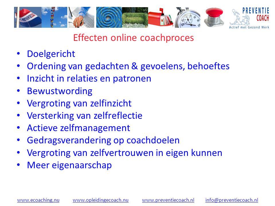 www.ecoaching.nuwww.ecoaching.nu www.opleidingecoach.nu www.preventiecoach.nl info@preventiecoach.nlwww.opleidingecoach.nuwww.preventiecoach.nlinfo@preventiecoach.nl Effecten online coachproces Doelgericht Ordening van gedachten & gevoelens, behoeftes Inzicht in relaties en patronen Bewustwording Vergroting van zelfinzicht Versterking van zelfreflectie Actieve zelfmanagement Gedragsverandering op coachdoelen Vergroting van zelfvertrouwen in eigen kunnen Meer eigenaarschap