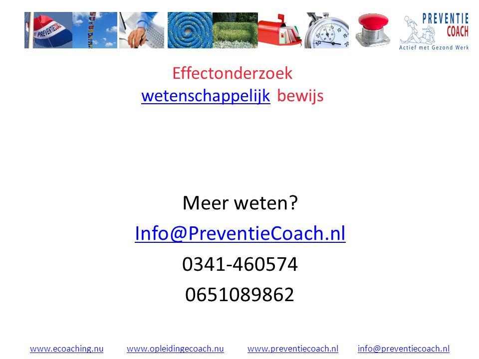 www.ecoaching.nuwww.ecoaching.nu www.opleidingecoach.nu www.preventiecoach.nl info@preventiecoach.nlwww.opleidingecoach.nuwww.preventiecoach.nlinfo@preventiecoach.nl Effectonderzoek wetenschappelijk bewijs wetenschappelijk Meer weten.