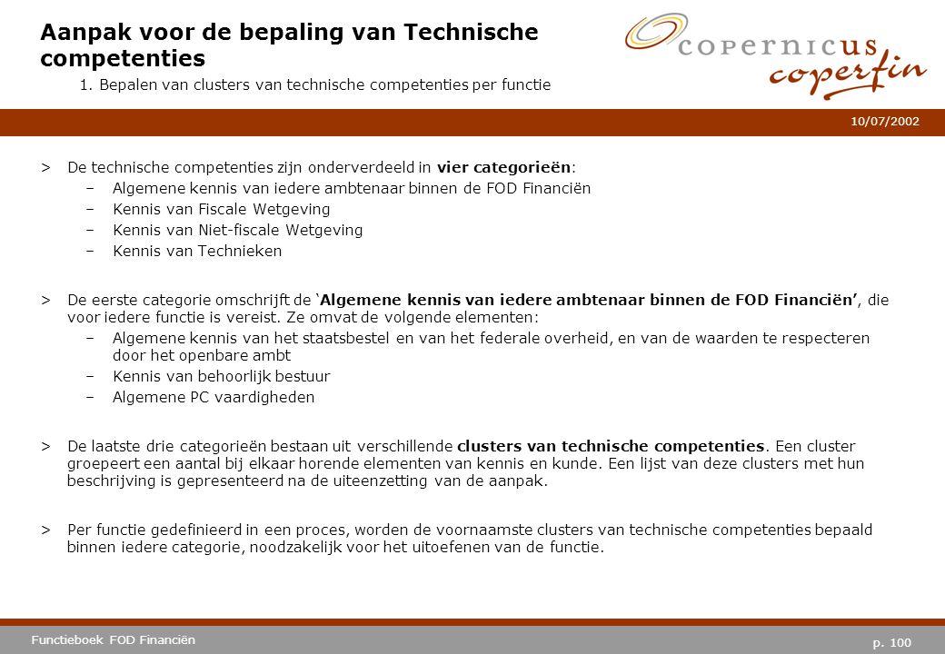 p. 100 Functieboek FOD Financiën 10/07/2002 >De technische competenties zijn onderverdeeld in vier categorieën: –Algemene kennis van iedere ambtenaar