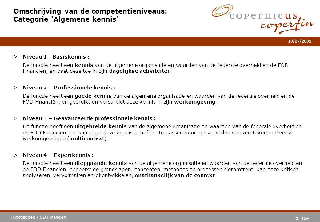 p. 104 Functieboek FOD Financiën 10/07/2002 Omschrijving van de competentieniveaus: Categorie 'Algemene kennis' >Niveau 1 - Basiskennis : De functie h