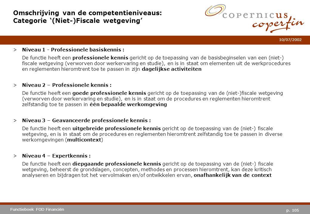 p. 105 Functieboek FOD Financiën 10/07/2002 Omschrijving van de competentieniveaus: Categorie '(Niet-)Fiscale wetgeving' >Niveau 1 - Professionele bas