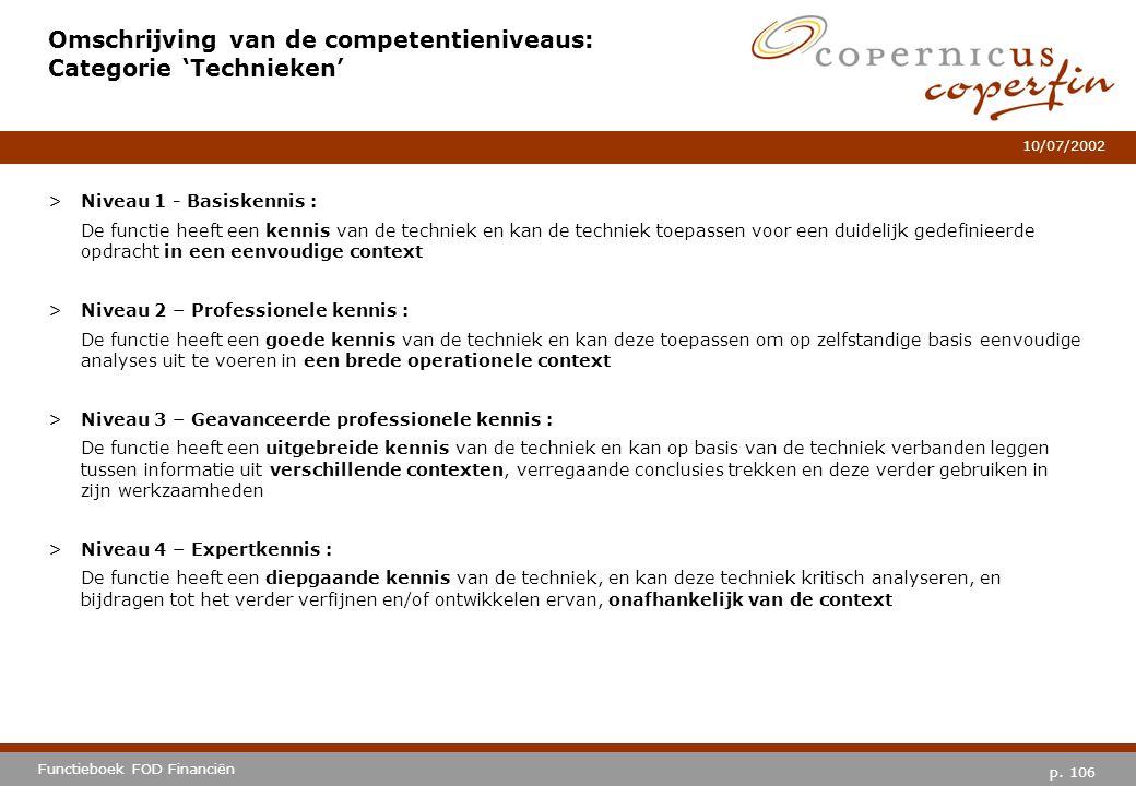 p. 106 Functieboek FOD Financiën 10/07/2002 Omschrijving van de competentieniveaus: Categorie 'Technieken' >Niveau 1 - Basiskennis : De functie heeft