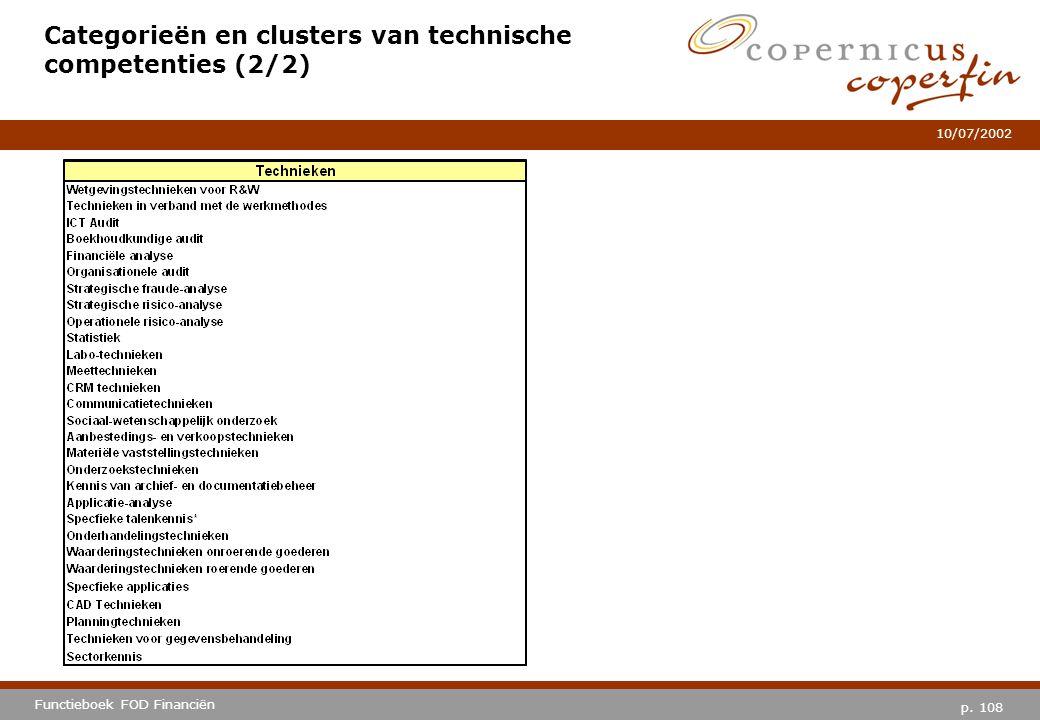 p. 108 Functieboek FOD Financiën 10/07/2002 Categorieën en clusters van technische competenties (2/2)