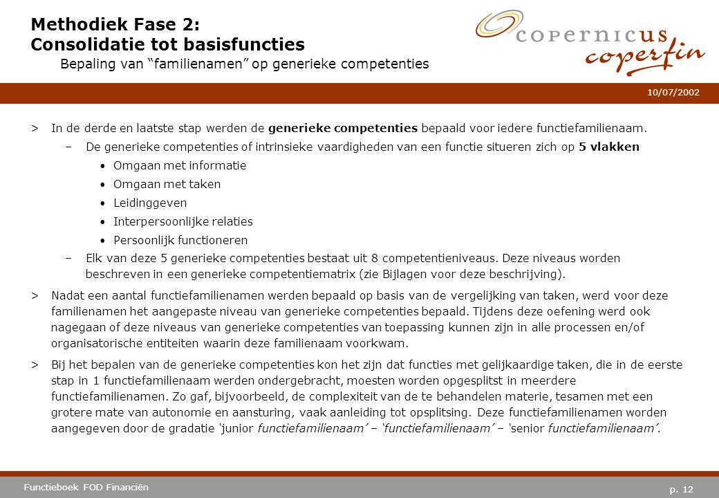 p. 12 Functieboek FOD Financiën 10/07/2002 Methodiek Fase 2: Consolidatie tot basisfuncties >In de derde en laatste stap werden de generieke competent