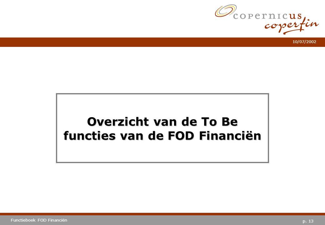 p. 13 Functieboek FOD Financiën 10/07/2002 Overzicht van de To Be functies van de FOD Financiën