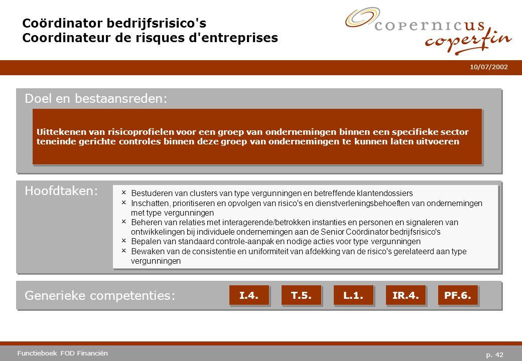 p. 42 Functieboek FOD Financiën 10/07/2002 Hoofdtaken: Generieke competenties: I.4. T.5. L.1. IR.4. PF.6. Coördinator bedrijfsrisico's Coordinateur de