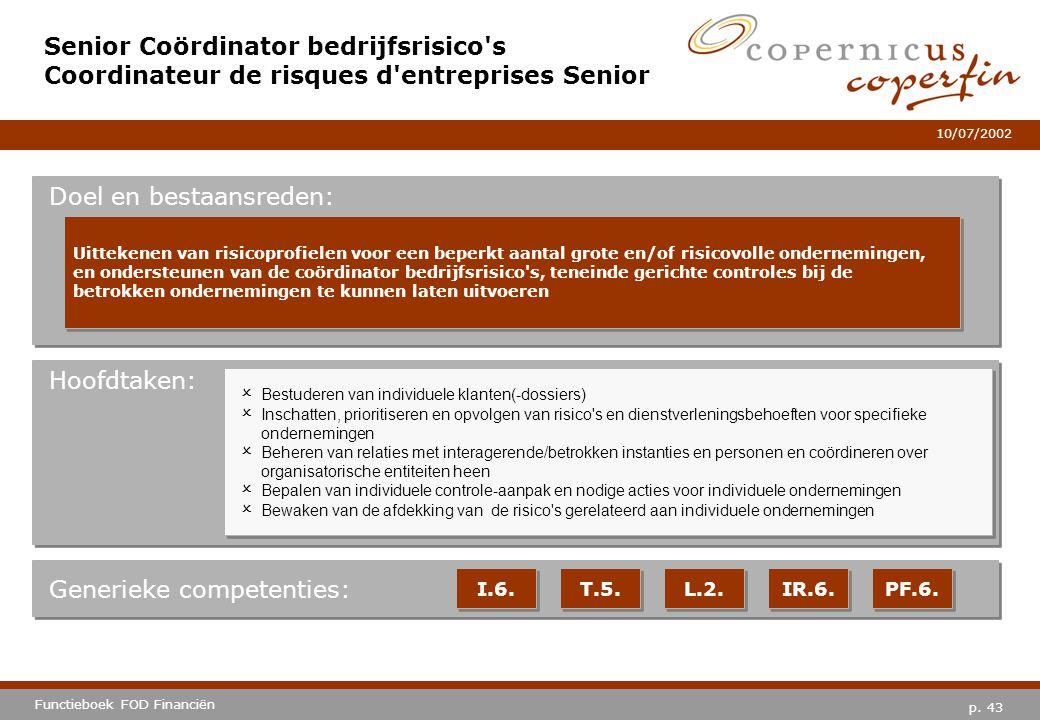 p. 43 Functieboek FOD Financiën 10/07/2002 Hoofdtaken: Generieke competenties: I.6. T.5. L.2. IR.6. PF.6. Senior Coördinator bedrijfsrisico's Coordina