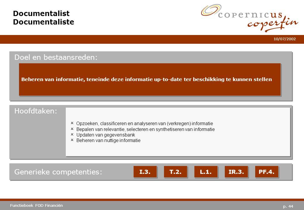 p. 44 Functieboek FOD Financiën 10/07/2002 Hoofdtaken: Generieke competenties: I.3. T.2. L.1. IR.3. PF.4. Documentalist Documentaliste Doel en bestaan