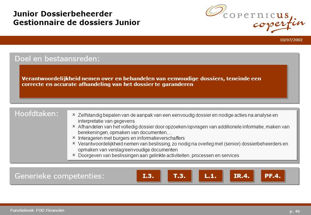 p. 46 Functieboek FOD Financiën 10/07/2002 Hoofdtaken: Generieke competenties: I.3. T.3. L.1. IR.4. PF.4. Junior Dossierbeheerder Gestionnaire de doss