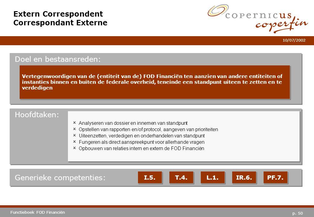 p. 50 Functieboek FOD Financiën 10/07/2002 Hoofdtaken: Generieke competenties: I.5. T.4. L.1. IR.6. PF.7. Extern Correspondent Correspondant Externe D