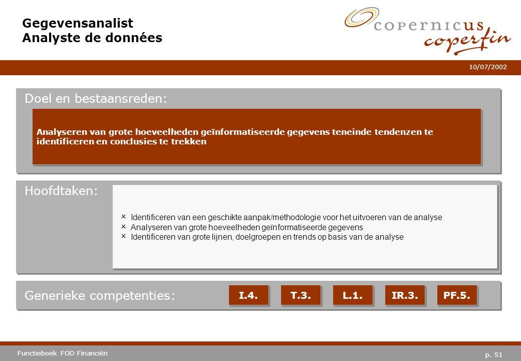 p. 51 Functieboek FOD Financiën 10/07/2002 Hoofdtaken: Generieke competenties: I.4. T.3. L.1. IR.3. PF.5. Gegevensanalist Analyste de données Doel en