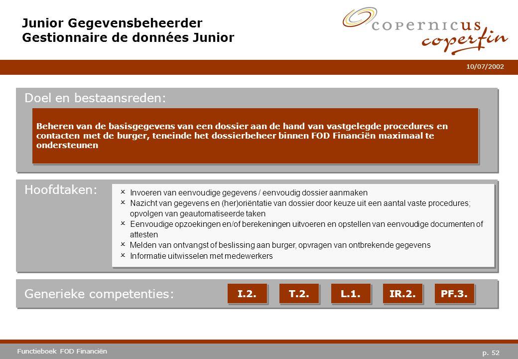 p. 52 Functieboek FOD Financiën 10/07/2002 Hoofdtaken: Generieke competenties: I.2. T.2. L.1. IR.2. PF.3. Junior Gegevensbeheerder Gestionnaire de don