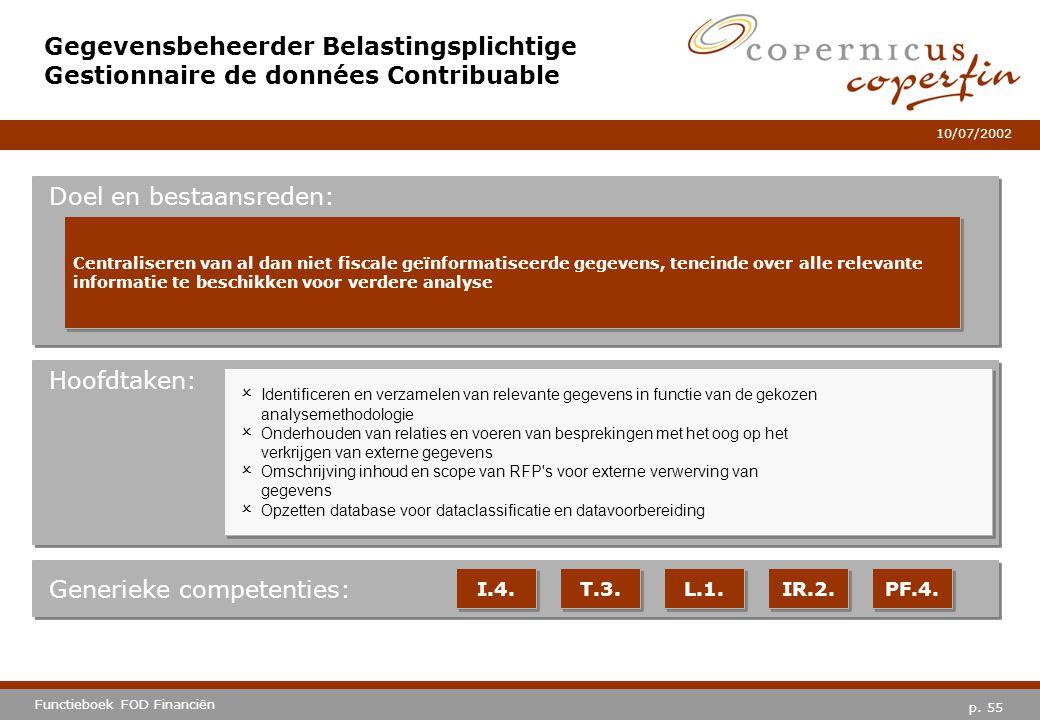 p. 55 Functieboek FOD Financiën 10/07/2002 Hoofdtaken: Generieke competenties: I.4. T.3. L.1. IR.2. PF.4. Gegevensbeheerder Belastingsplichtige Gestio
