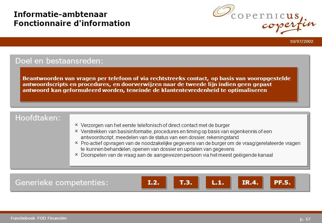 p. 57 Functieboek FOD Financiën 10/07/2002 Hoofdtaken: Generieke competenties: I.2. T.3. L.1. IR.4. PF.5. Informatie-ambtenaar Fonctionnaire d'informa