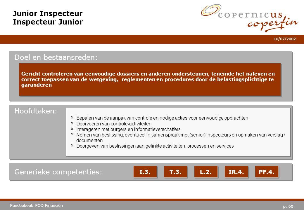 p. 60 Functieboek FOD Financiën 10/07/2002 Hoofdtaken: Generieke competenties: I.3. T.3. L.2. IR.4. PF.4. Junior Inspecteur Inspecteur Junior Doel en