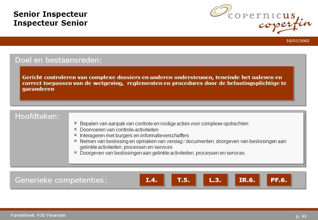 p. 62 Functieboek FOD Financiën 10/07/2002 Hoofdtaken: Generieke competenties: I.4. T.5. L.3. IR.6. PF.6. Senior Inspecteur Inspecteur Senior Doel en
