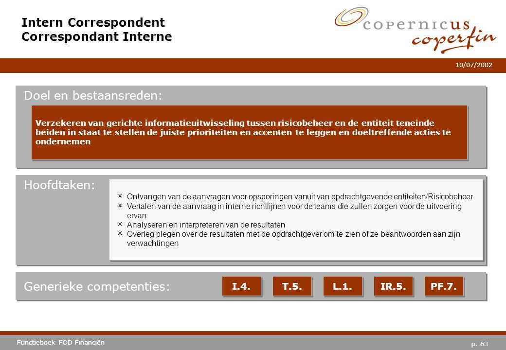 p. 63 Functieboek FOD Financiën 10/07/2002 Hoofdtaken: Generieke competenties: I.4. T.5. L.1. IR.5. PF.7. Intern Correspondent Correspondant Interne D