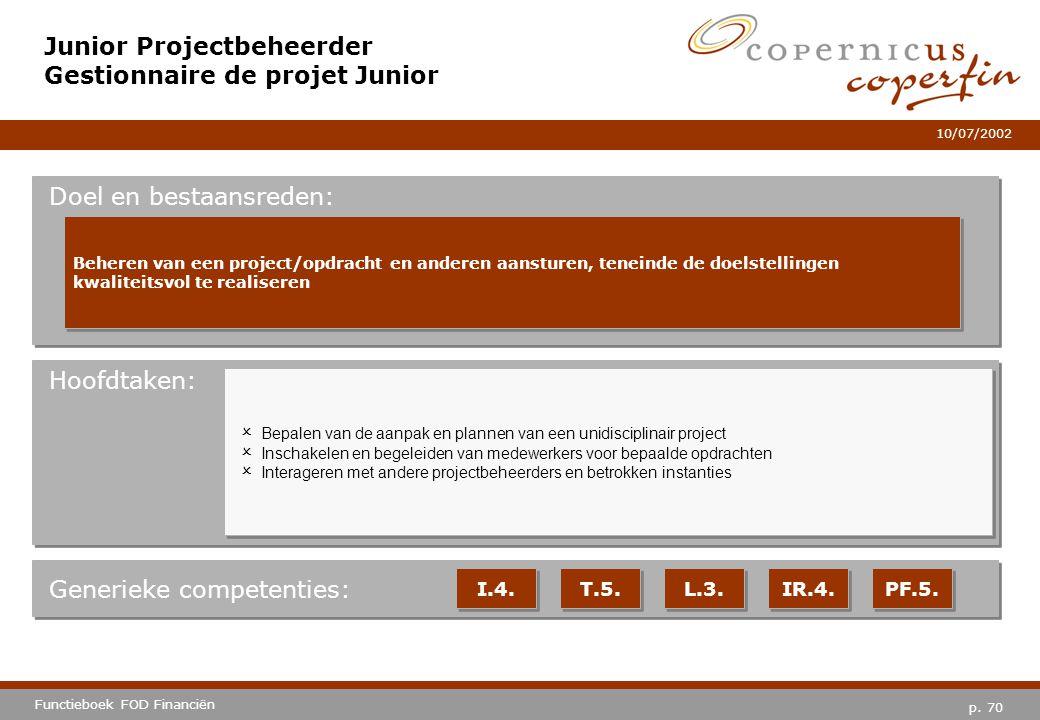 p. 70 Functieboek FOD Financiën 10/07/2002 Hoofdtaken: Generieke competenties: I.4. T.5. L.3. IR.4. PF.5. Junior Projectbeheerder Gestionnaire de proj