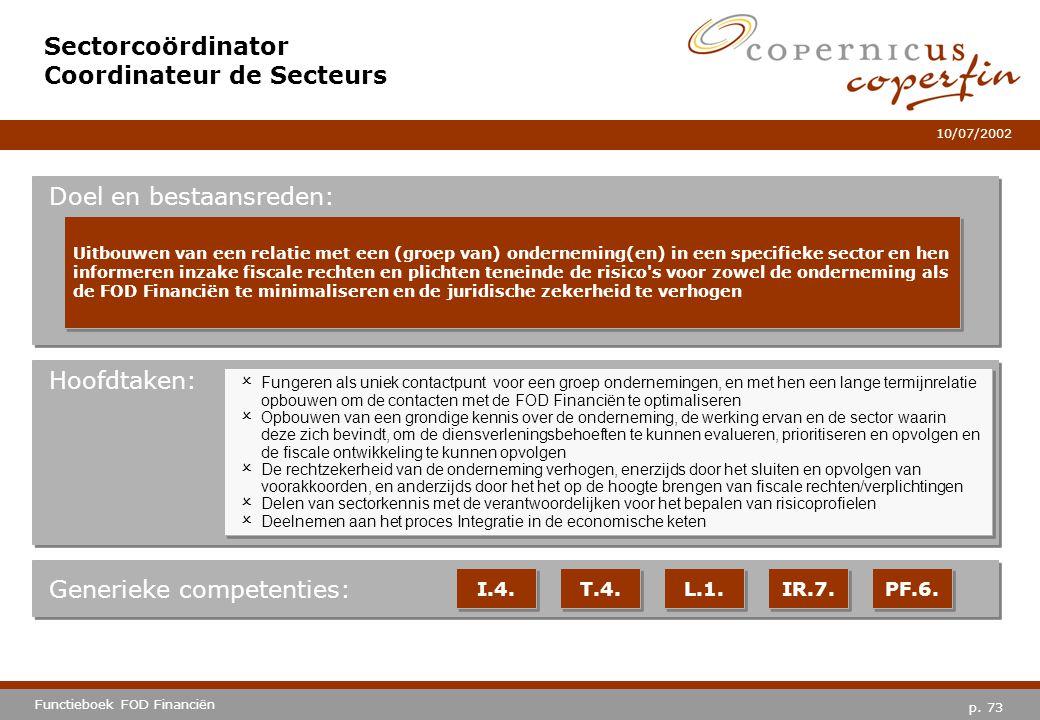 p. 73 Functieboek FOD Financiën 10/07/2002 Hoofdtaken: Generieke competenties: I.4. T.4. L.1. IR.7. PF.6. Sectorcoördinator Coordinateur de Secteurs D