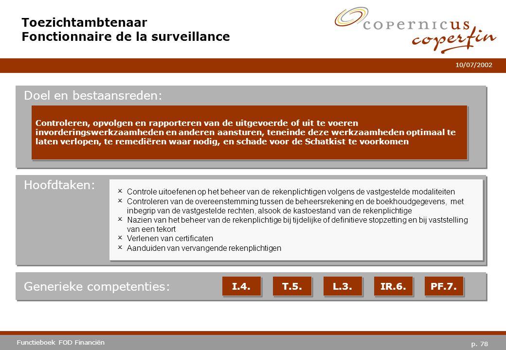 p. 78 Functieboek FOD Financiën 10/07/2002 Hoofdtaken: Generieke competenties: I.4. T.5. L.3. IR.6. PF.7. Toezichtambtenaar Fonctionnaire de la survei