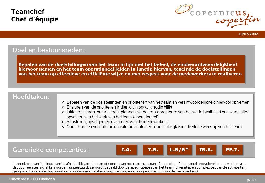 p. 80 Functieboek FOD Financiën 10/07/2002 Hoofdtaken: Generieke competenties: I.4. T.5. L.5/6* IR.6. PF.7. Teamchef Chef d'équipe Doel en bestaansred