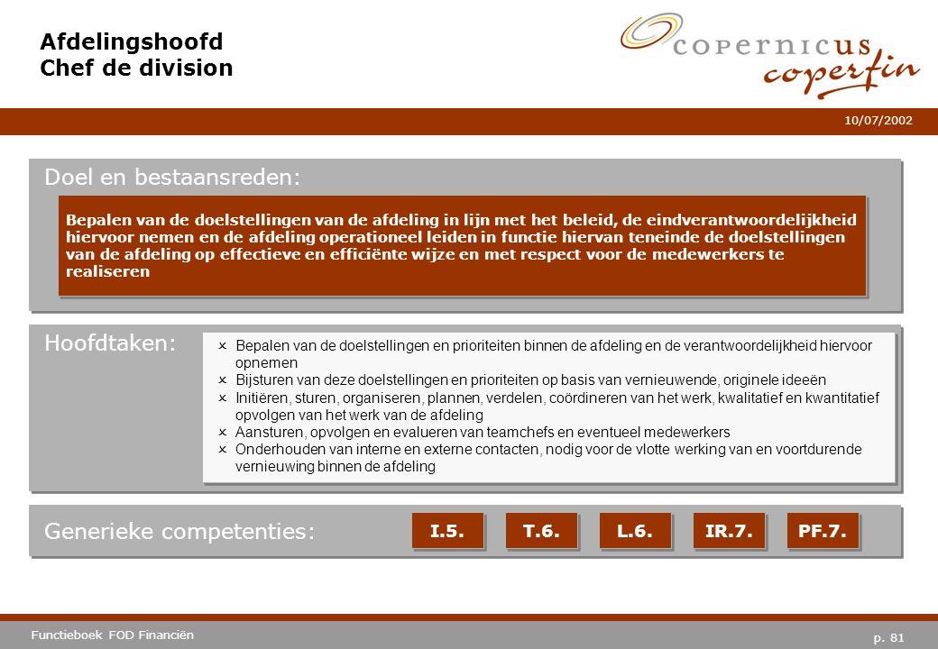 p. 81 Functieboek FOD Financiën 10/07/2002 Hoofdtaken: Generieke competenties: I.5. T.6. IR.7. PF.7. Afdelingshoofd Chef de division Doel en bestaansr
