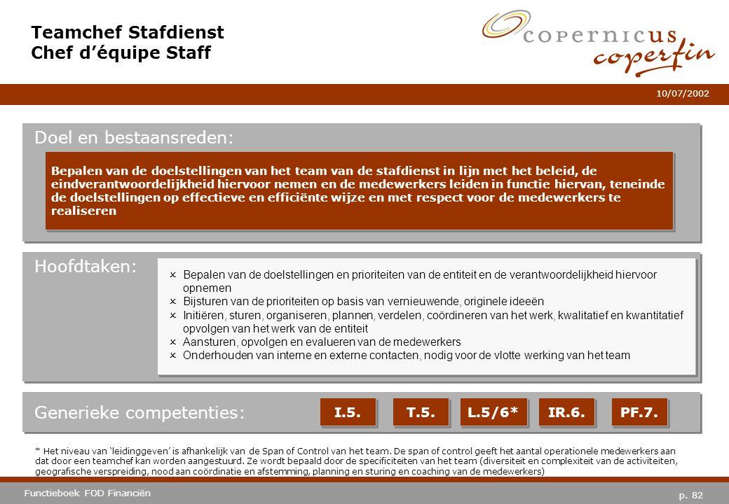 p. 82 Functieboek FOD Financiën 10/07/2002 Hoofdtaken: Generieke competenties: I.5. T.5. IR.6. PF.7. Teamchef Stafdienst Chef d'équipe Staff Doel en b